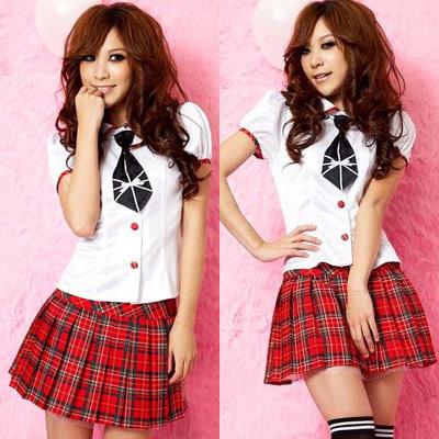 アイドル衣装・赤チェック・ミニスカスクール制服