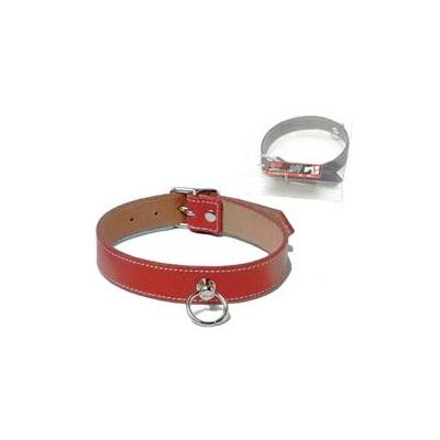 b05925 ≪SM首輪・首枷≫赤カラーで鋲打ちデザインの細丸首輪≪紅椿≫