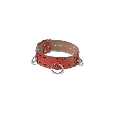 b05927 鋲打ちデザインで赤カラーの細丸首輪