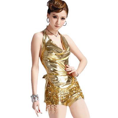 ドレープトップスのスパンコール衣装・ゴールド | ゴールドワンピース の衣装