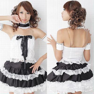 アイドル衣装 コスプレ 激安・白×黒・ゴスロリ調の萌え系ドレス
