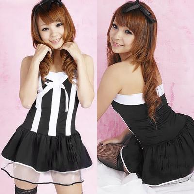 ステージ衣装 アイドル コスチューム・カチューシャ付・黒×白ミニスカドレス