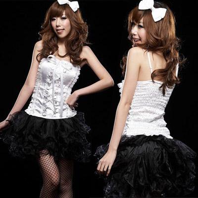 ステージ衣装 アイドル コスチューム・ブラック×ホワイト・アイドルドレス