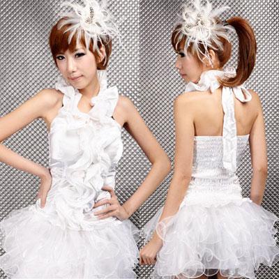 ステージ衣装 アイドル コスチューム・ホワイトサテン・アイドルドレス
