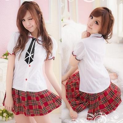 女性ステージ衣装 アイドル・ネクタイ付き・赤チェックのミニスカスクール制服