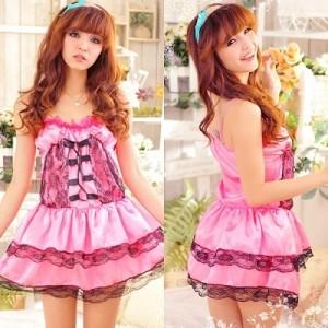 ステージ衣装 アイドル コスチューム・フリル×レース・編み上げデザインピンクドレス
