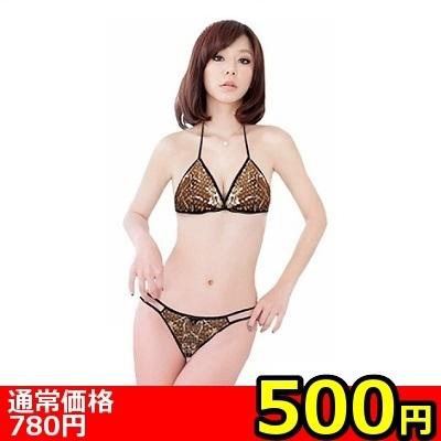 【ワンコイン500円】シルバーフラワー×スパンコールドットブラ&ショーツ(お一人様1点限り)