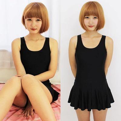 スクール水着 女装コスプレ | パッド付きの本物スカート付きスクール水着 黒 L